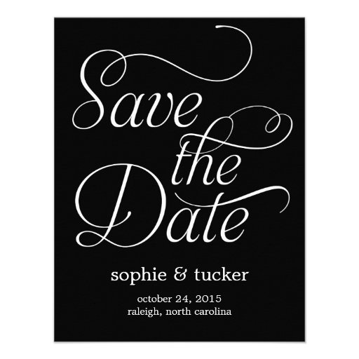 Charming Script Wedding Save The Date Card Custom Invites