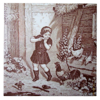 Charming Sepia Tile Farm Boy and Chickens