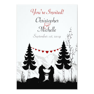 "Charming Silhouette Mountain Bear Couple Wedding 5"" X 7"" Invitation Card"