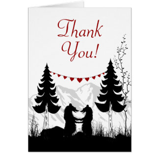 Charming Silhouette Mountain Bears Thank You Card