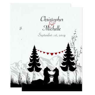 Charming Silhouette Mountain Bears Wedding Invite