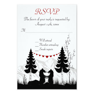 "Charming Silhouette Mountain Bears Wedding RSVP 3.5"" X 5"" Invitation Card"