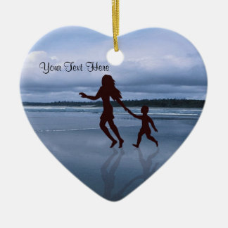 Charming Silhouette of Mother & Son at the Beach Ceramic Ornament