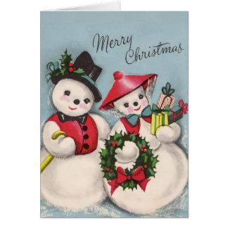 Charming Snowmen Couple Card