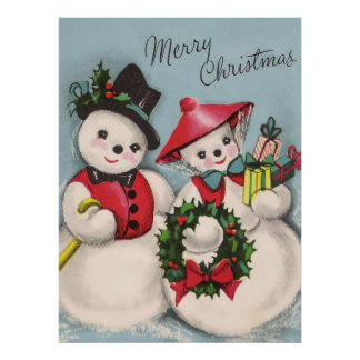 Charming Snowmen Couple Poster