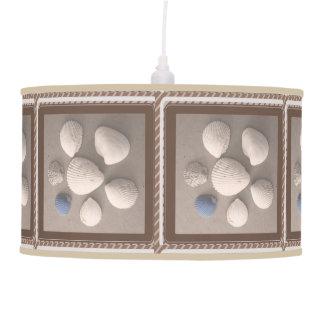 Charming Soft Brown Framed Seashell Pendant Lamp