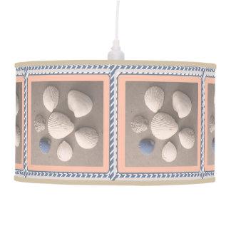 Charming Soft Peach Framed Seashell Pendant Lamp