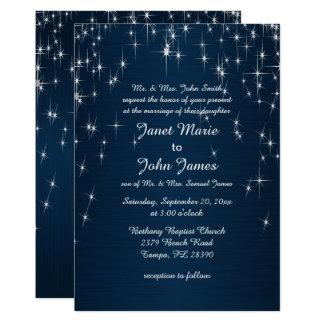 Charming Star Struck Wedding | Navy Blue Card