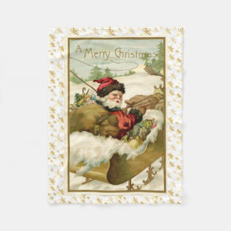 Charming Victorian Santa Claus Post Card Art Fleece Blanket