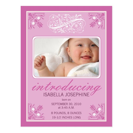 Charming Vintage Baby Birth Announcement (fuschia) Postcard