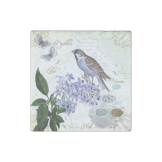 Charming Vintage French Bird Text Floral Collage Stone Magnets