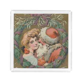 Charming Vintage Kissing Santa Christmas Wreath Acrylic Tray