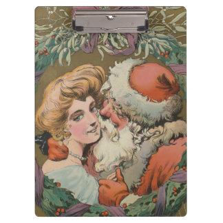 Charming Vintage Kissing Santa Christmas Wreath Clipboard