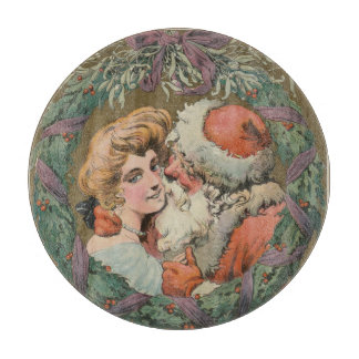 Charming Vintage Kissing Santa Christmas Wreath Cutting Board