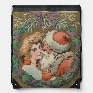 Charming Vintage Kissing Santa Christmas Wreath Drawstring Bag