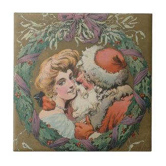 Charming Vintage Kissing Santa Christmas Wreath Tile