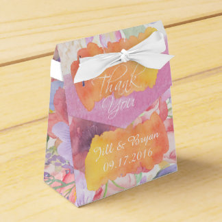 Charming Watercolor Floral Wedding Favor Box
