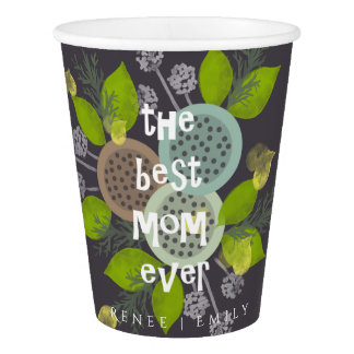 CHARMING WATERCOLOUR FLOWERS FOR MOM  MONOGRAM PAPER CUP