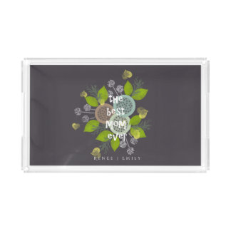 CHARMING WATERCOLOUR FLOWERS FOR MOM  MONOGRAM SERVING TRAY