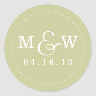 Charming Wedding Monogram Sticker - Sage