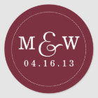 Charming Wedding Monogram Sticker - Wine Red