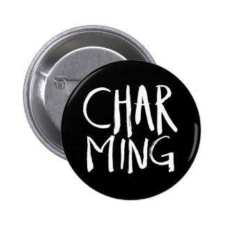 Charming | White Brush Script style 2 Inch Round Button