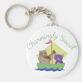 Charmingly Sweet Basic Round Button Keychain