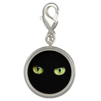 Charms black cat green eyes