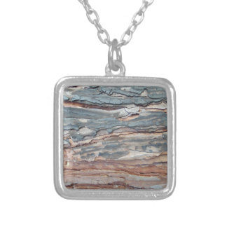 Charred Pine Bark Silver Plated Necklace