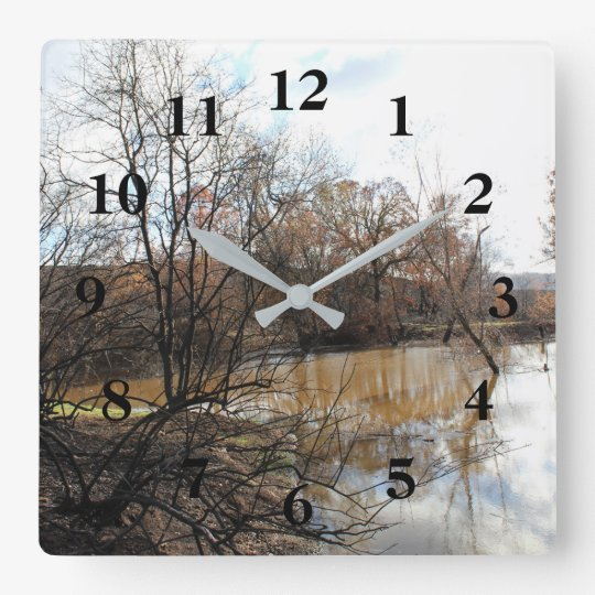 Charred Trees and Pond Numbered Wall Clock