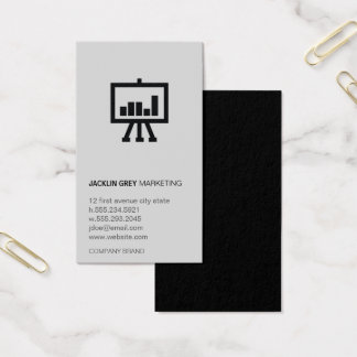 Chart icon Gray and Black Business Card