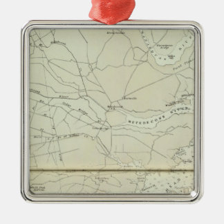 Chart map of Spring Lake to Cedar Creek Coast Silver-Colored Square Ornament