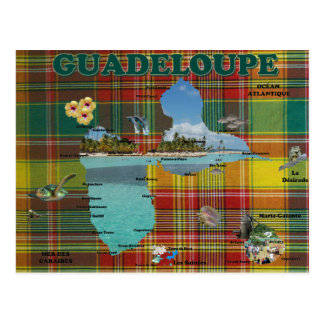 Chart of the Guadeloupe in Madras Postcard