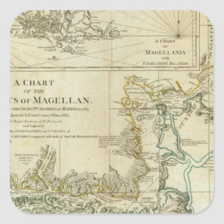Chart Of The Straits Of Magellan Square Sticker
