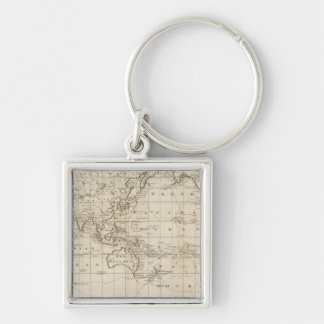 Chart of the World Silver-Colored Square Keychain