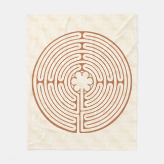Chartres Labyrinth Brown Fleece Blanket