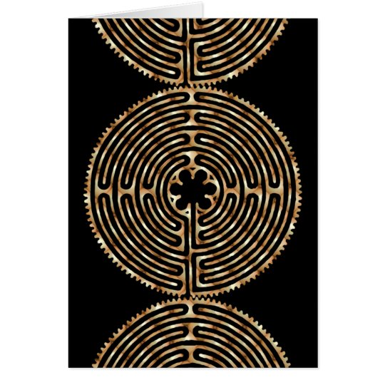 Chartres Labyrinth Pearl Dark Paths Blank Card