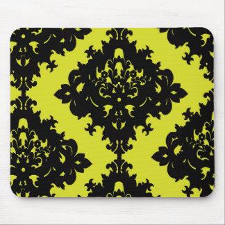 chartreuse and black elegant diamond damask design mouse pad