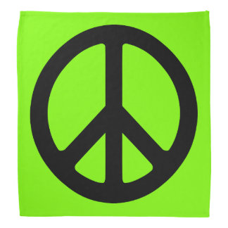 Chartreuse and Black Peace Symbol Bandana
