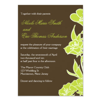 Chartreuse and Brown Floral Wedding Invitations