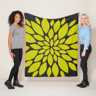 Chartreuse and Dark Grey Floral Burst Fleece Blanket