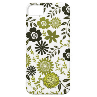 Chartreuse and Dark olive green floral pattern iPhone 5 Covers