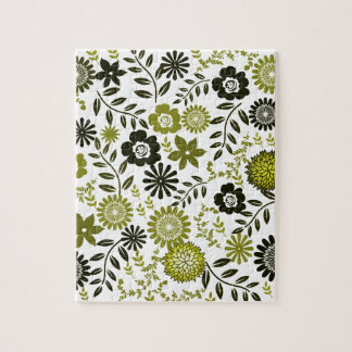 Chartreuse and Dark olive green floral pattern Puzzles