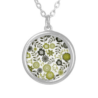 Chartreuse and Dark olive green floral pattern Silver Plated Necklace