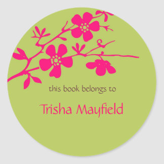 Chartreuse and Fusia Blossoms, Bookplates Classic Round Sticker