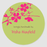 Chartreuse and Fusia Blossoms Personalized Labels Stickers
