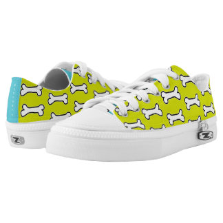 Chartreuse and Turquoise Dog Bone #GOFORTH Low-Top Sneakers