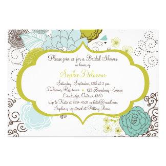 Chartreuse Blue Floral Bridal Shower Invitation