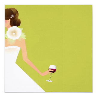 Chartreuse Bridal shower wine invitations