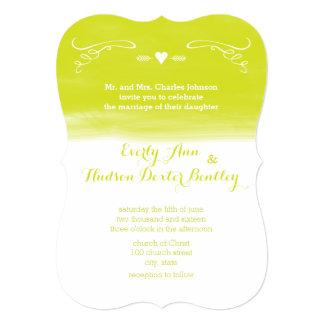 Chartreuse Chalkboard Elements Die Cut Wedding Card